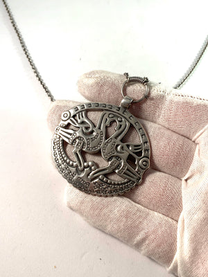 Kalevala Koru, Finland 1970 Large Sterling Pendant Necklace.