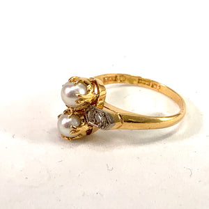 Vintage Mid Century 18k Gold Diamond Pearl Ring.
