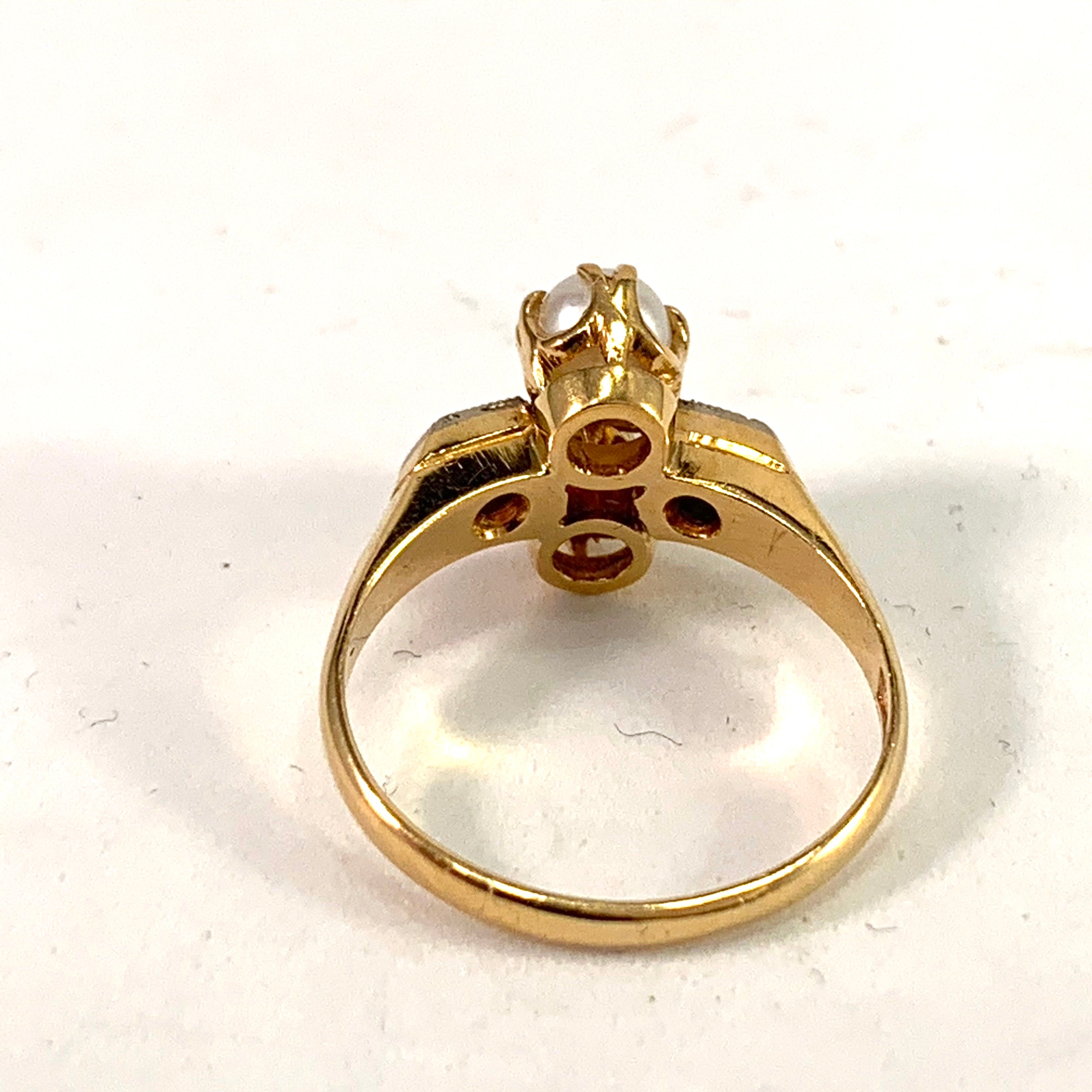 Svedbom, Sweden 1951 Mid Century 18k Gold Diamond Pearl Ring.