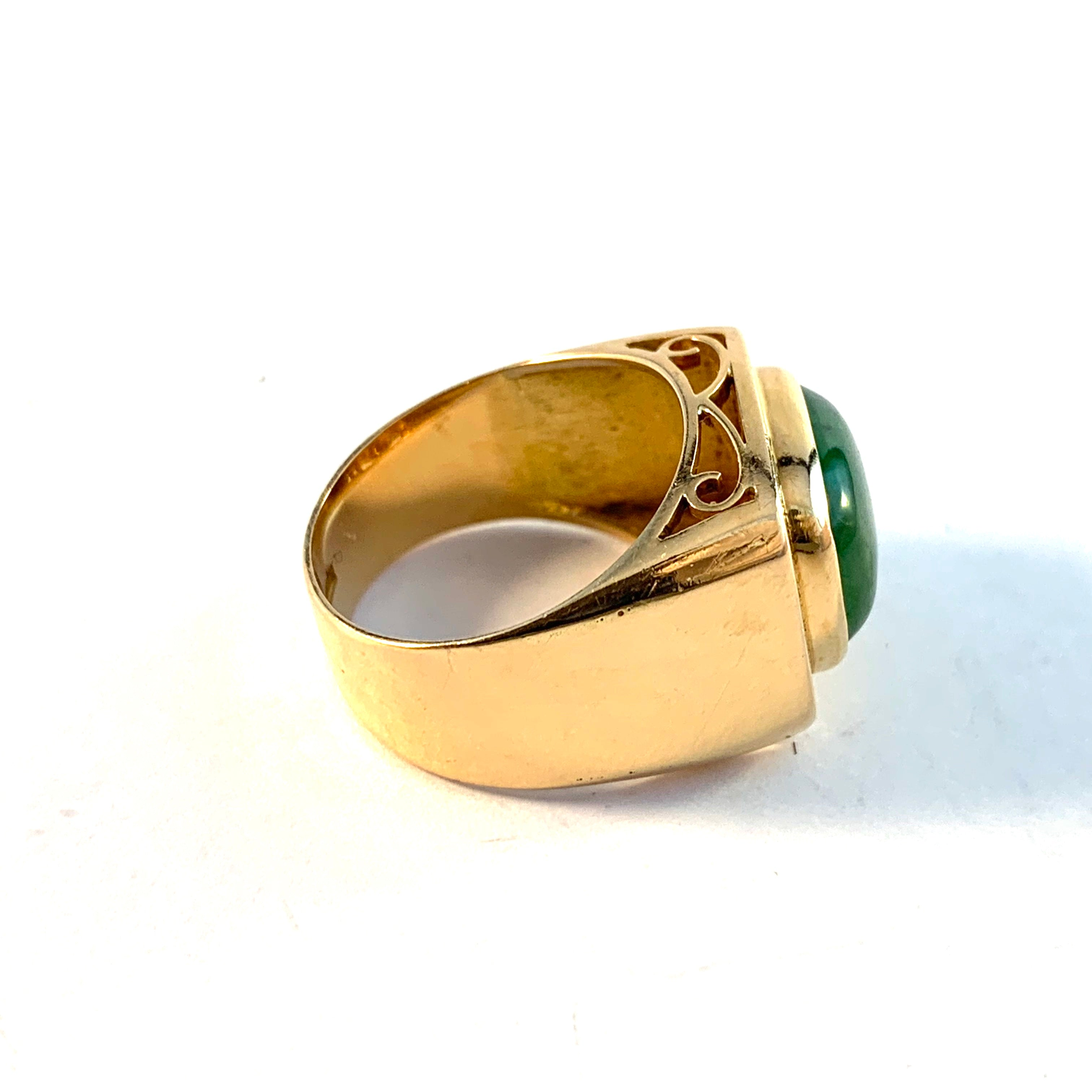 Nyström, Sweden 1974. 18k Gold Jade Ring.