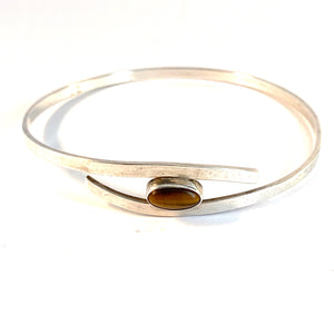 Friedrich Speidel, Germany, 1960s Solid Silver Tiger Eye Bangle Bracelet.