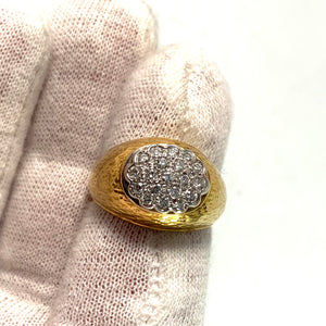 Italy 1960s 18k Gold 0.38ctw Diamond Dome Ring. 10.2gram