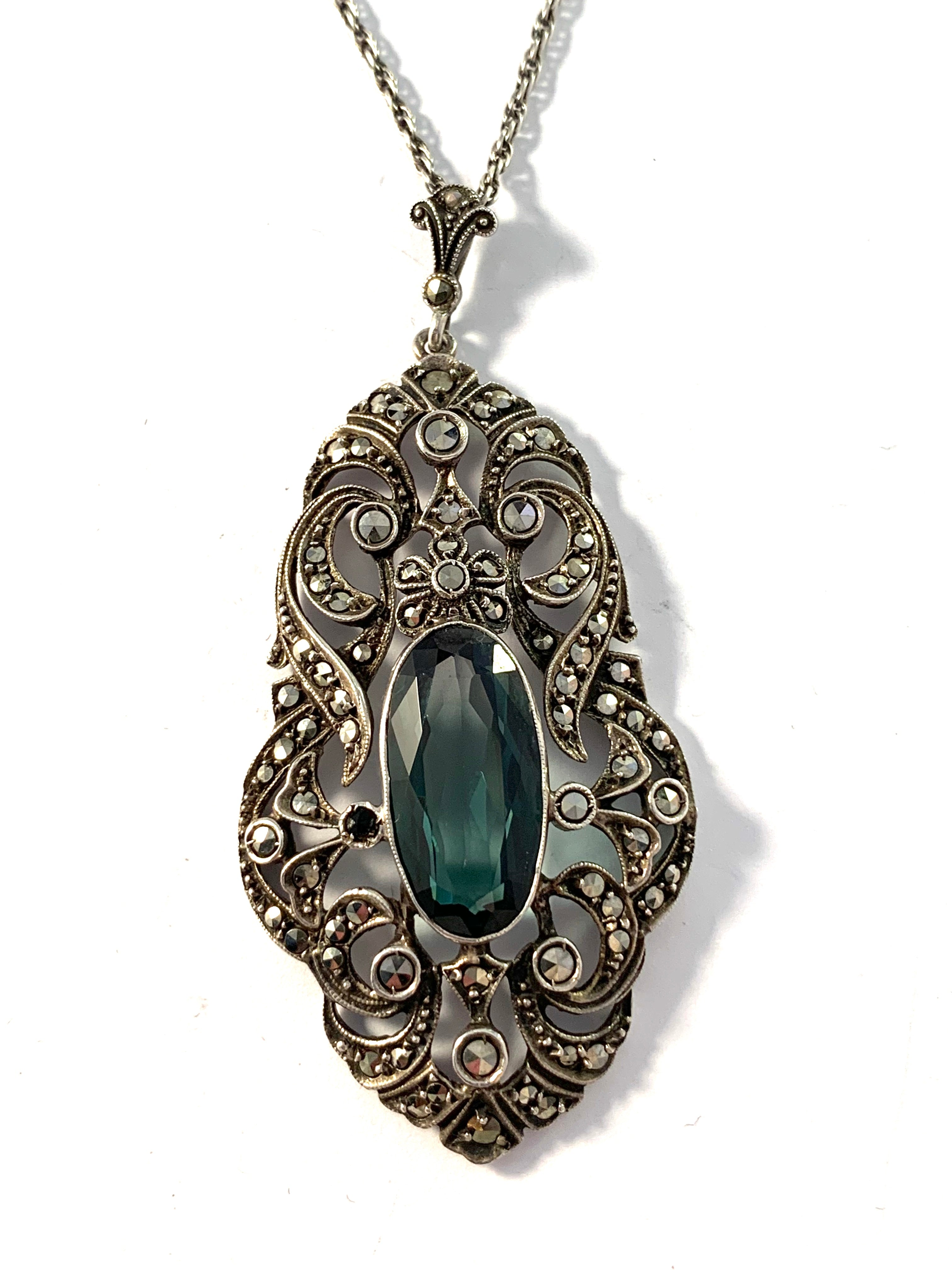 Germany / Austria early 1900s Solid Silver Marcasite Dark Forest Green Paste Large Pendant Necklace