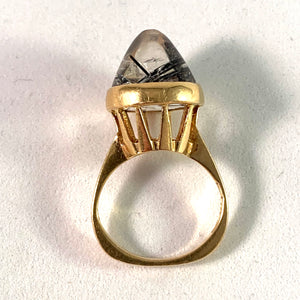 J Petersson, 1965 Modernist 18k Gold Tourmalinated Quartz Pinky Ring