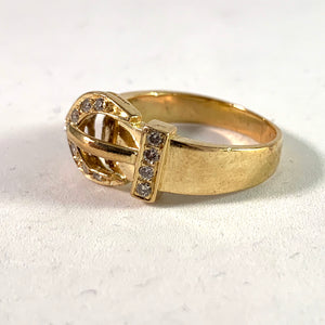 Vintage 14k Gold Diamond Belt Buckle Ring.