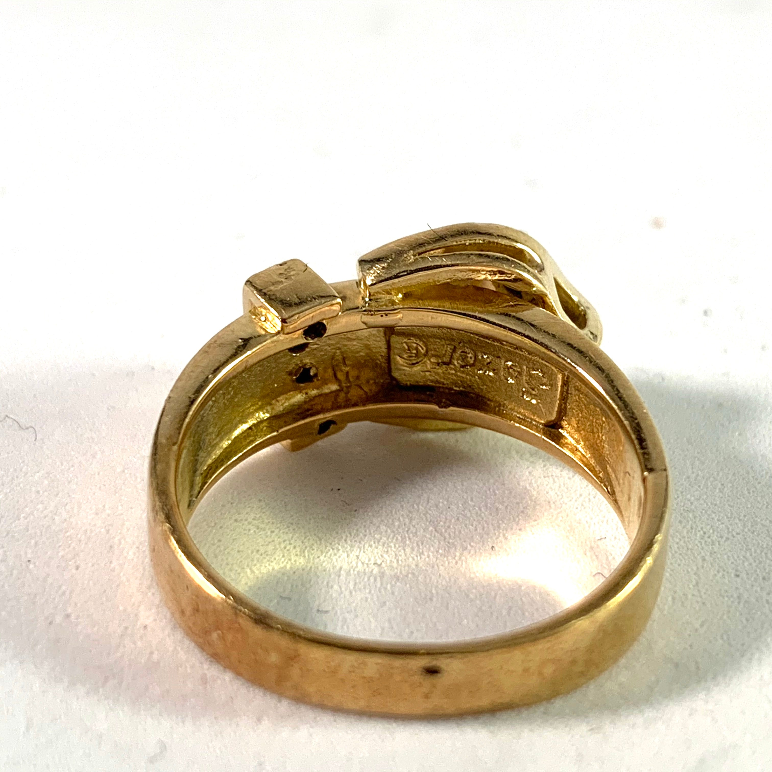 Vintage 14k Gold 0.20ctw Diamond Belt Buckle Ring.