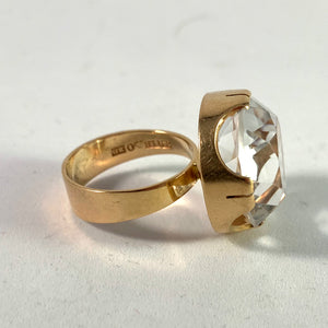Kaplan, Stockholm 1969 Bold Modernist 18k Gold Rock Crystal Ring