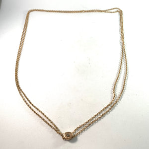 Dahlgren Sweden 1900 Antique 18k Gold Rose Cut Diamond 27.5in Long Two Strand Necklace.