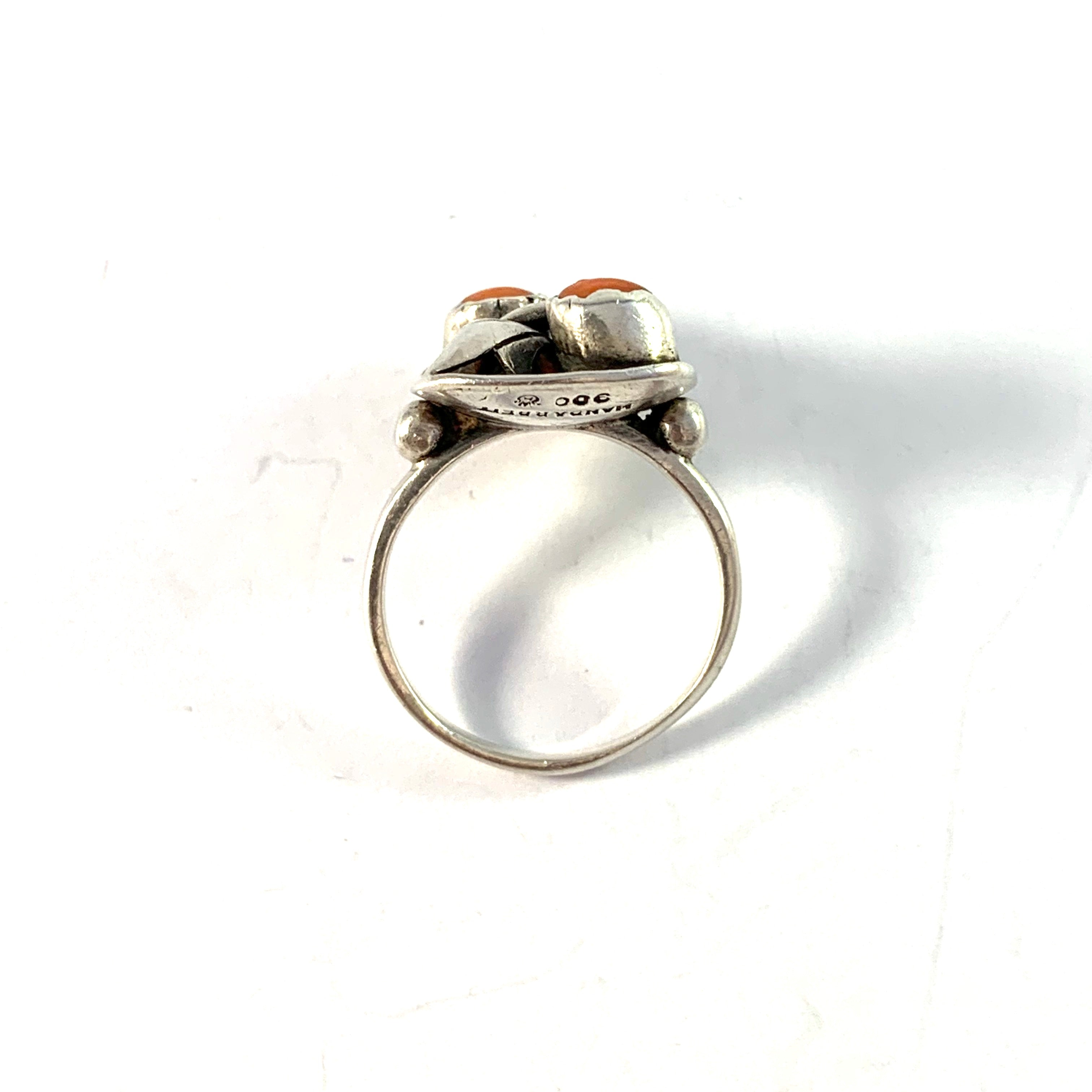 Germany early 1900s Solid 900 Silver Coral Ring.