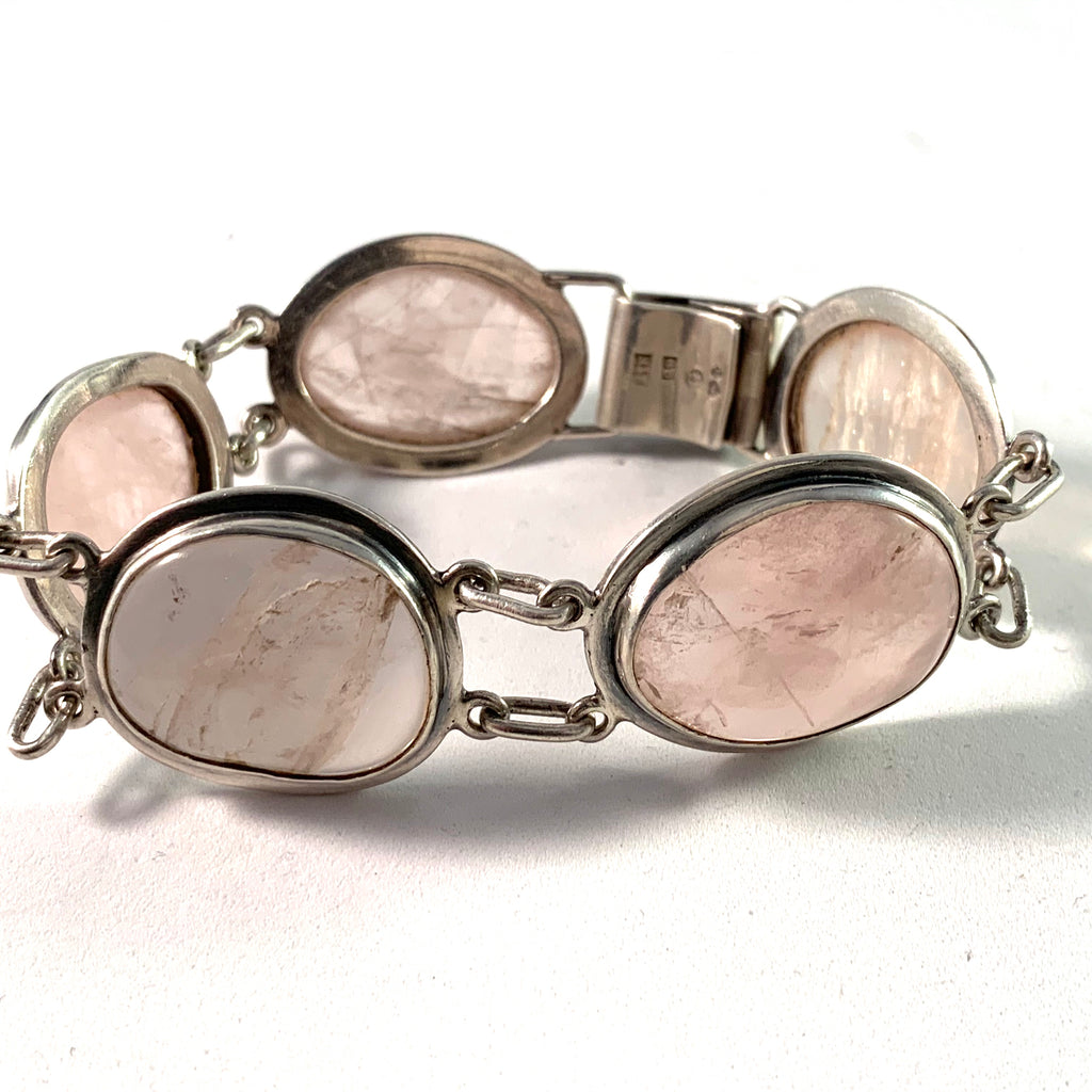 A I E, Sweden year 1966 Large Sterling Silver Rose Quartz Bracelet