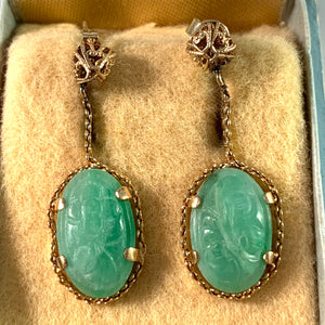 Mid Century 14k Gold Carved Jade Dangle Earrings. Boxed.