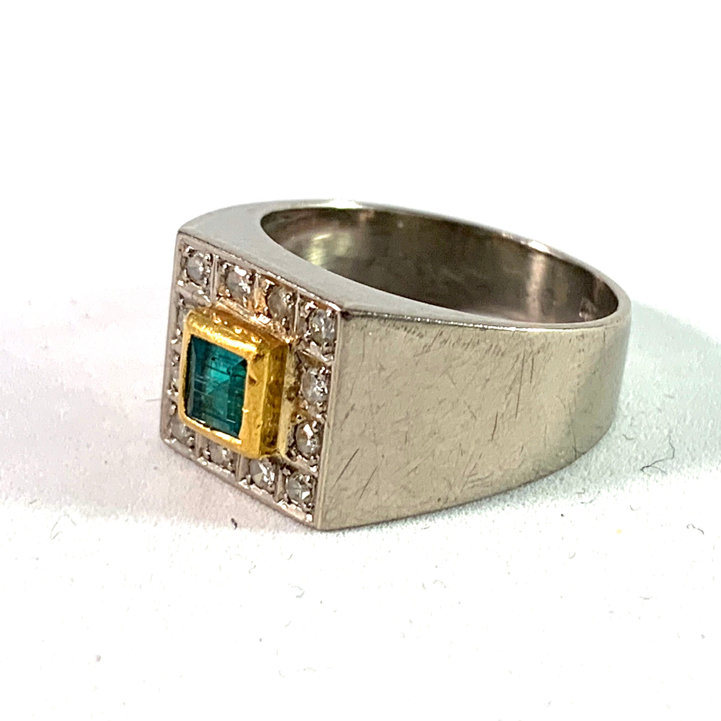 Heribert Engelbert, Sweden 1964, 18k Gold Emerald Diamond Ring