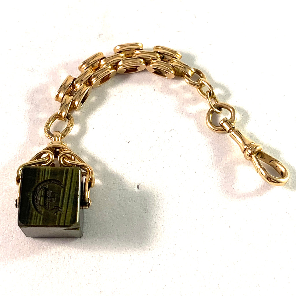 Anna Braeses, Sweden 1911 Antique 18k Gold Seal Fob Pocket Chain. Letter E