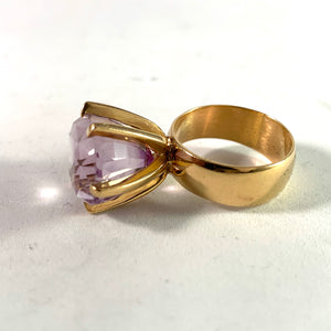 Modernist 18k Gold Amethyst Ring