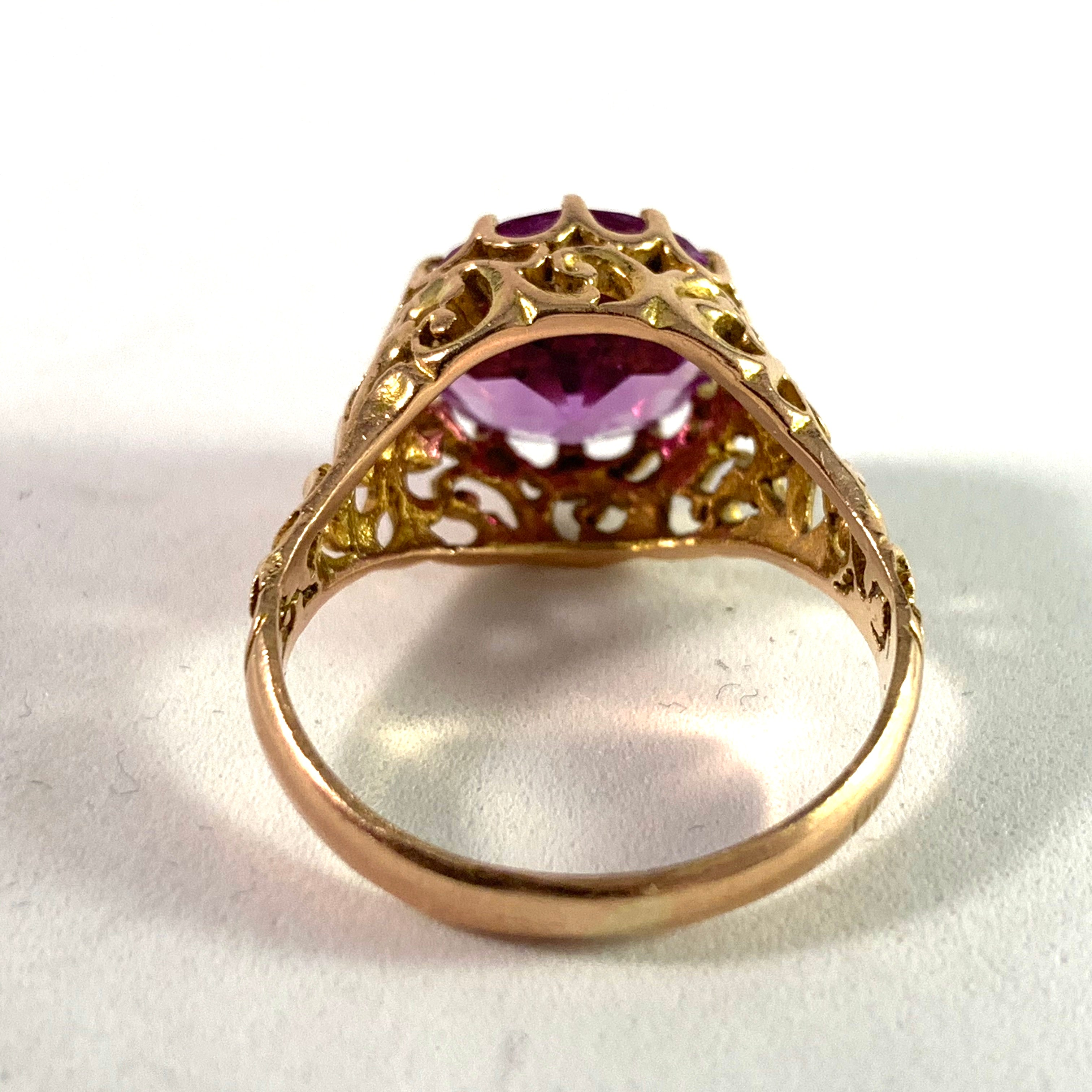 Eastern Mediterranean 1950-60s, 14k Synthetic Sapphire Ring.