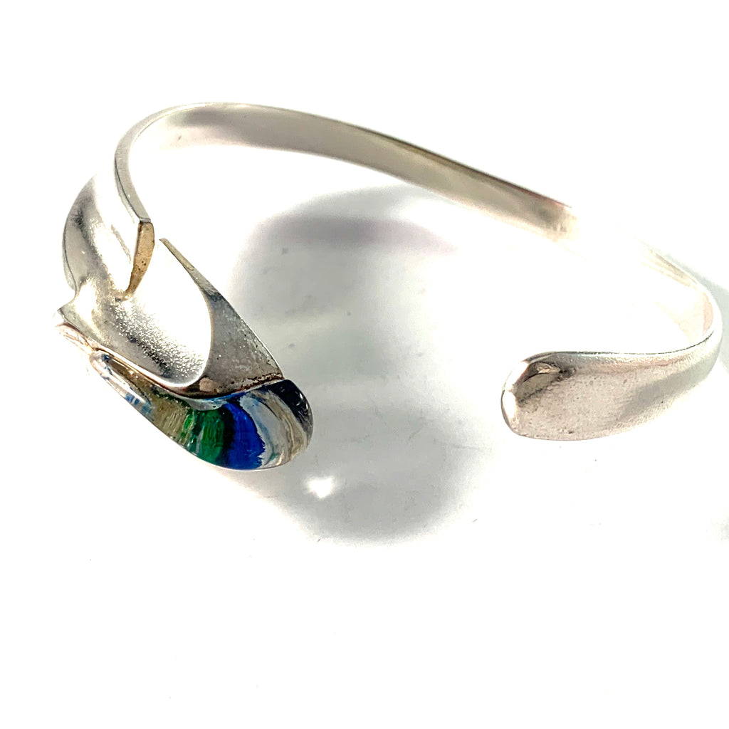Bjorn Weckstrom for Lapponia, Finland 1974. Sterling Silver Acrylic Bracelet. Design Salamander.