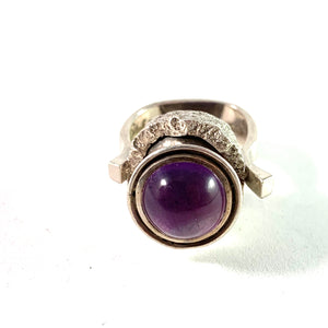Robbert, Sweden 1975 Massive Sterling Amethyst Ring. Signed