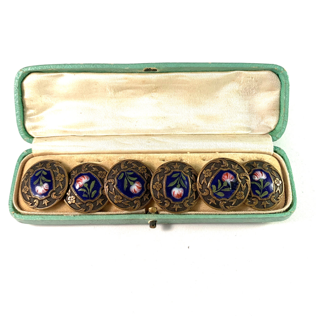 Antique Victorian Bronze Enamel Buttons. Boxed.