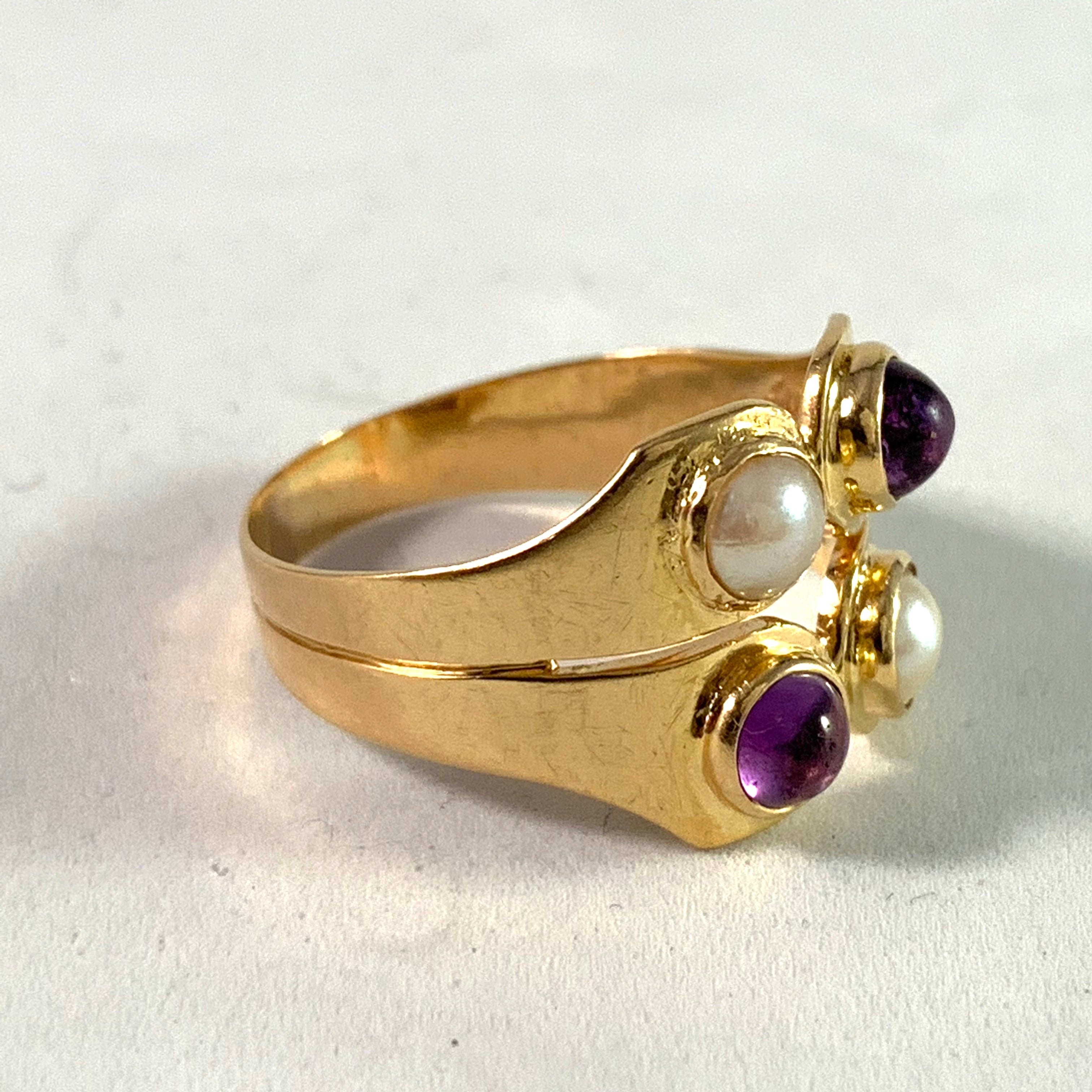 Sigurd Persson for Stigbert Sweden 1952. 18k Gold Pearl Amethyst Ring.