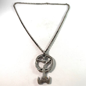 W A Bolin, Sweden 1969 Sterling Viking Copy Key to Valhalla Pendant Necklace.