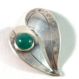 Victor Janson, Sweden 1969 Sterling Aventurine Heart Love Hand Hammered Brooch