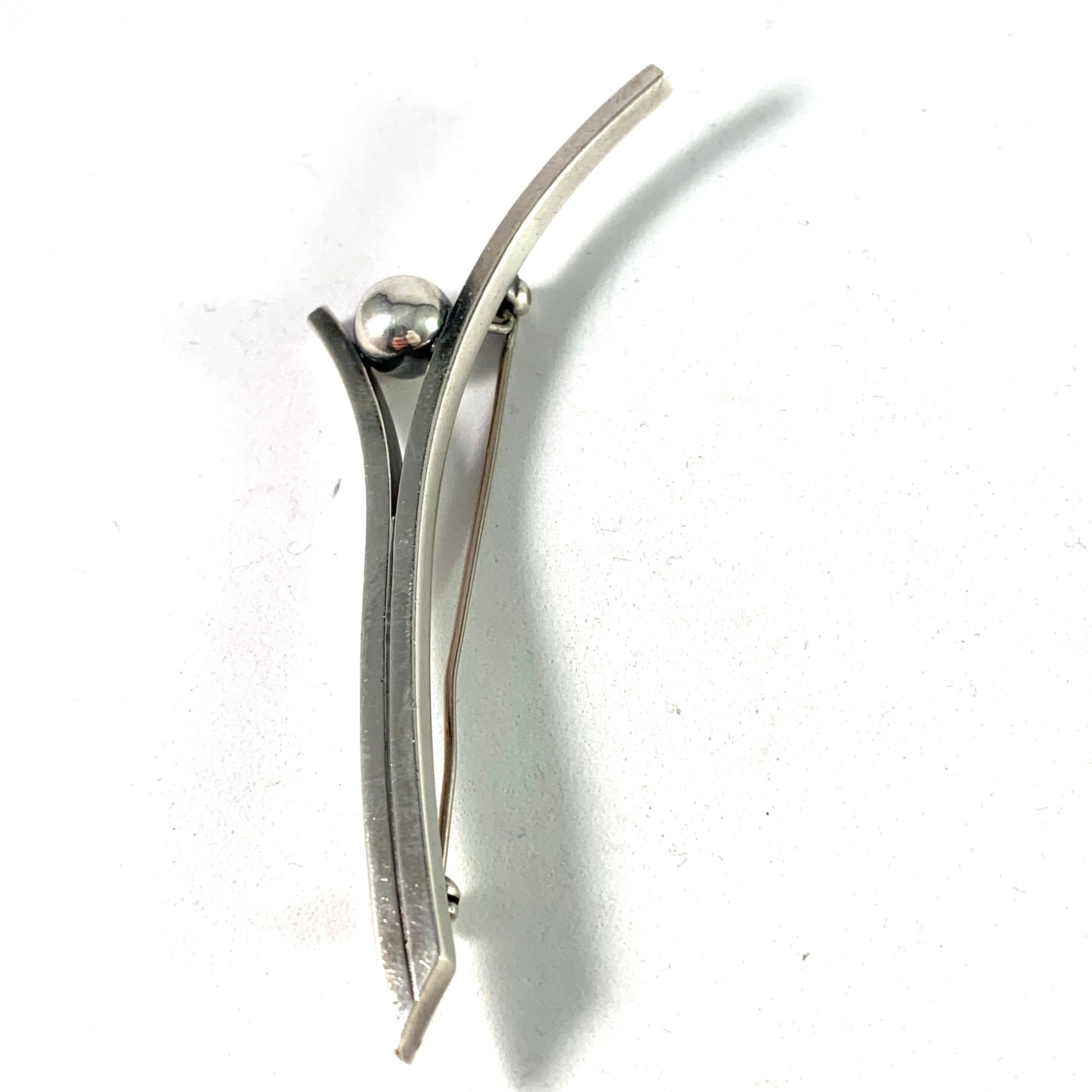 Hans Hansen. Denmark 1930-40s Sterling Large Pin Brooch. Design no 105
