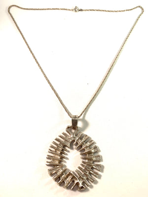 G Dahlgren, Sweden 1972 Silver Modernist Pendant Necklace.