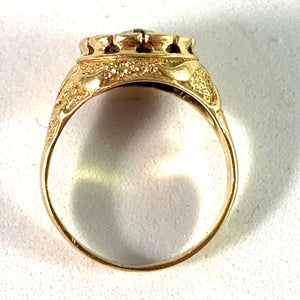 Italy 1933-44 Vintage 18k Gold Diamond Enamel Ring.