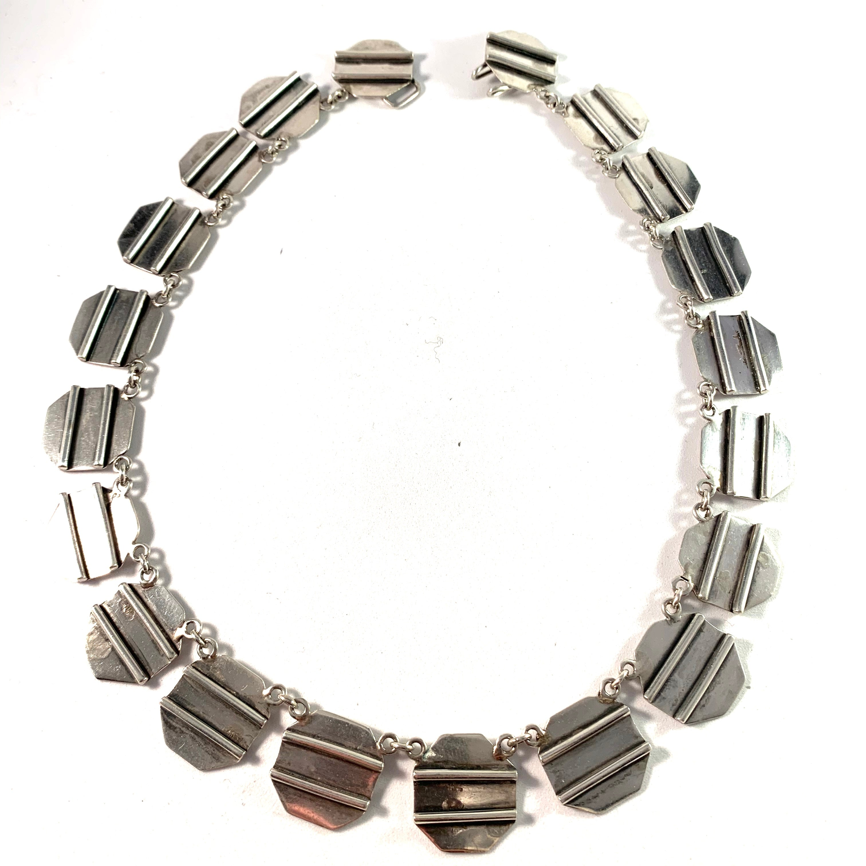 A. Ring, Copenhagen 1960s, Modernist Sterling Silver Necklace