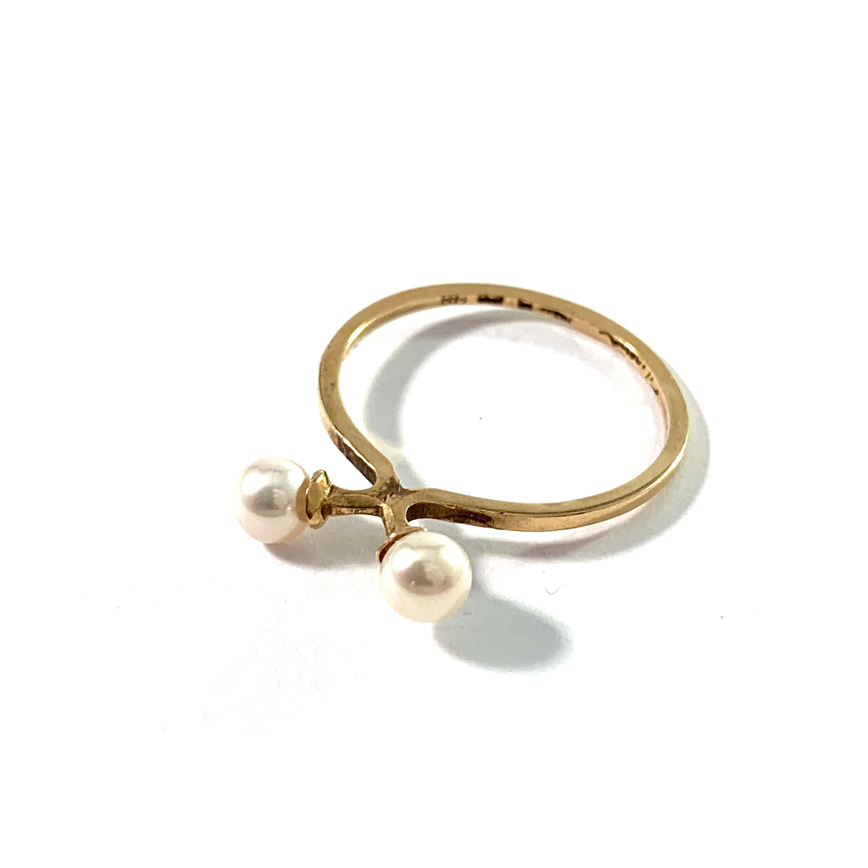 "Theresia Hvorslev, Sweden. Vintage 18k Gold Cultured Pearl Stack Ring. ""The Tale Of The Ring"""