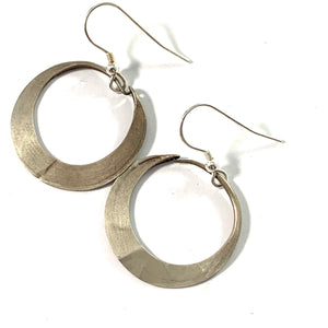 Lars Lundin, Sweden 1849-53 Early Victorian Solid Silver Earrings. New Hooks.