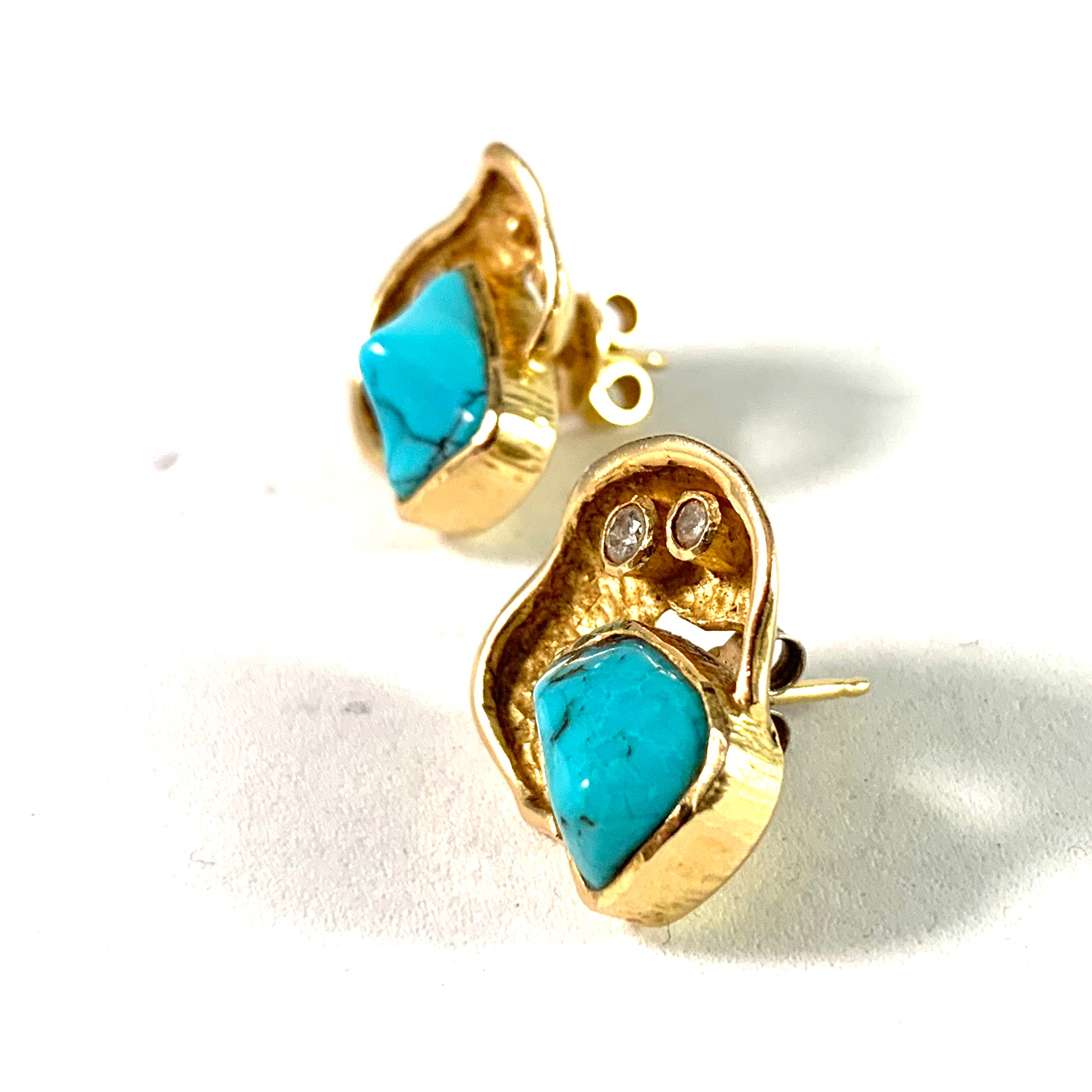 John Victor Rørvig, Denmark Vintage 18k Gold Diamond Turquoise Earrings