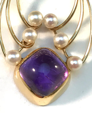 Hedberg, Sweden year 1960 Mid Century Modern 18k Gold Cultured Pearl Amethyst Pendant.