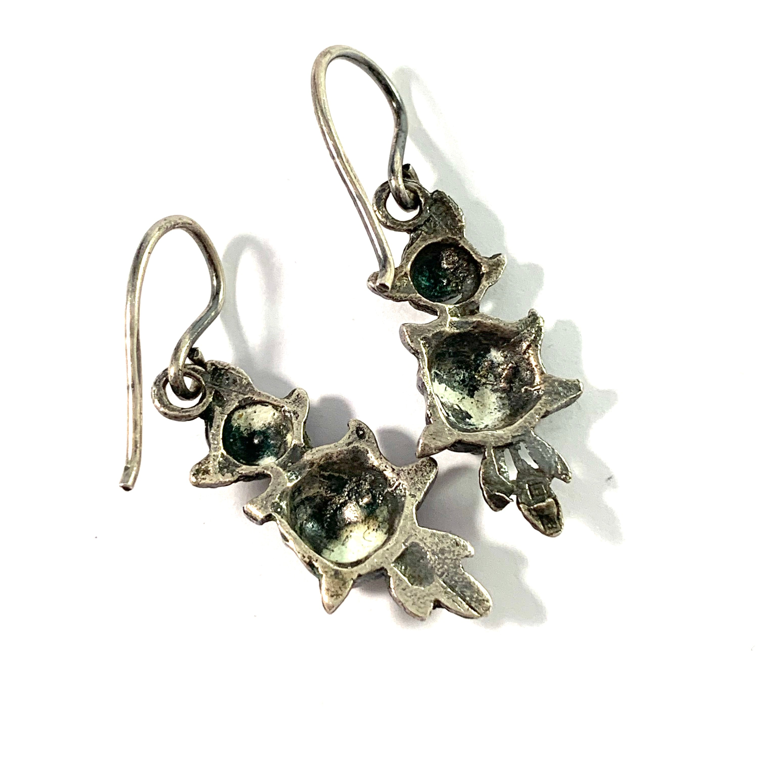 Finland, Mid Century Solid Silver Rose Flower Pair of Earrings.