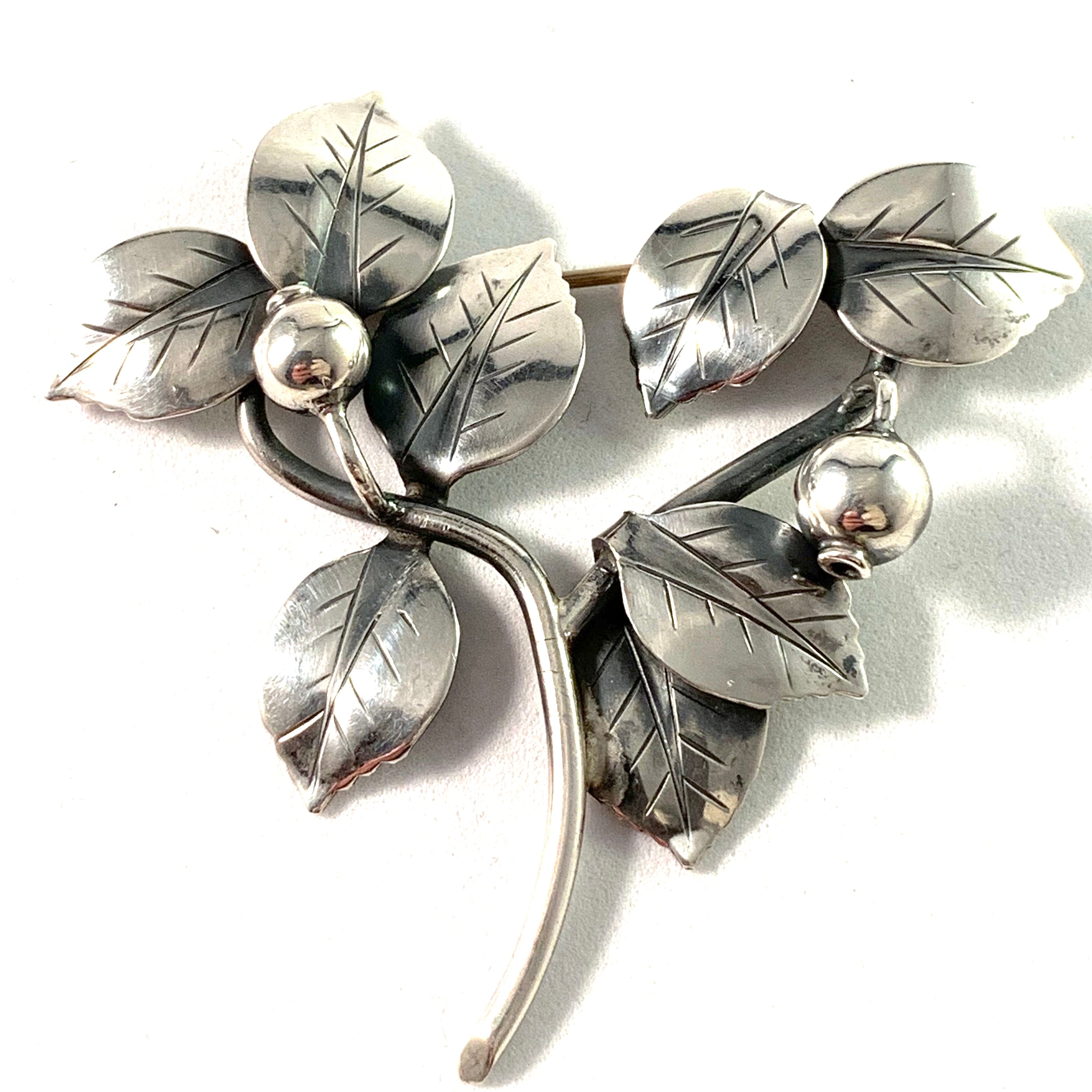 Gertrud Engel, for A Michelsen 1952 Sterling Silver Large Lingonberry Brooch