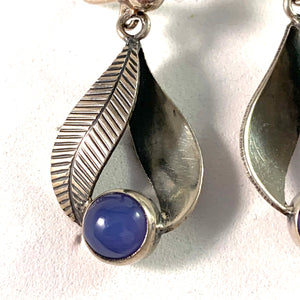 Per Ericsson, Sweden 1949-57 Mid Century Sterling Chalcedony Earrings.