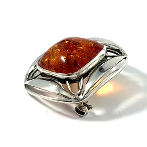 Vintage 1950-60s Solid 830 Silver Baltic Amber Brooch. Germany