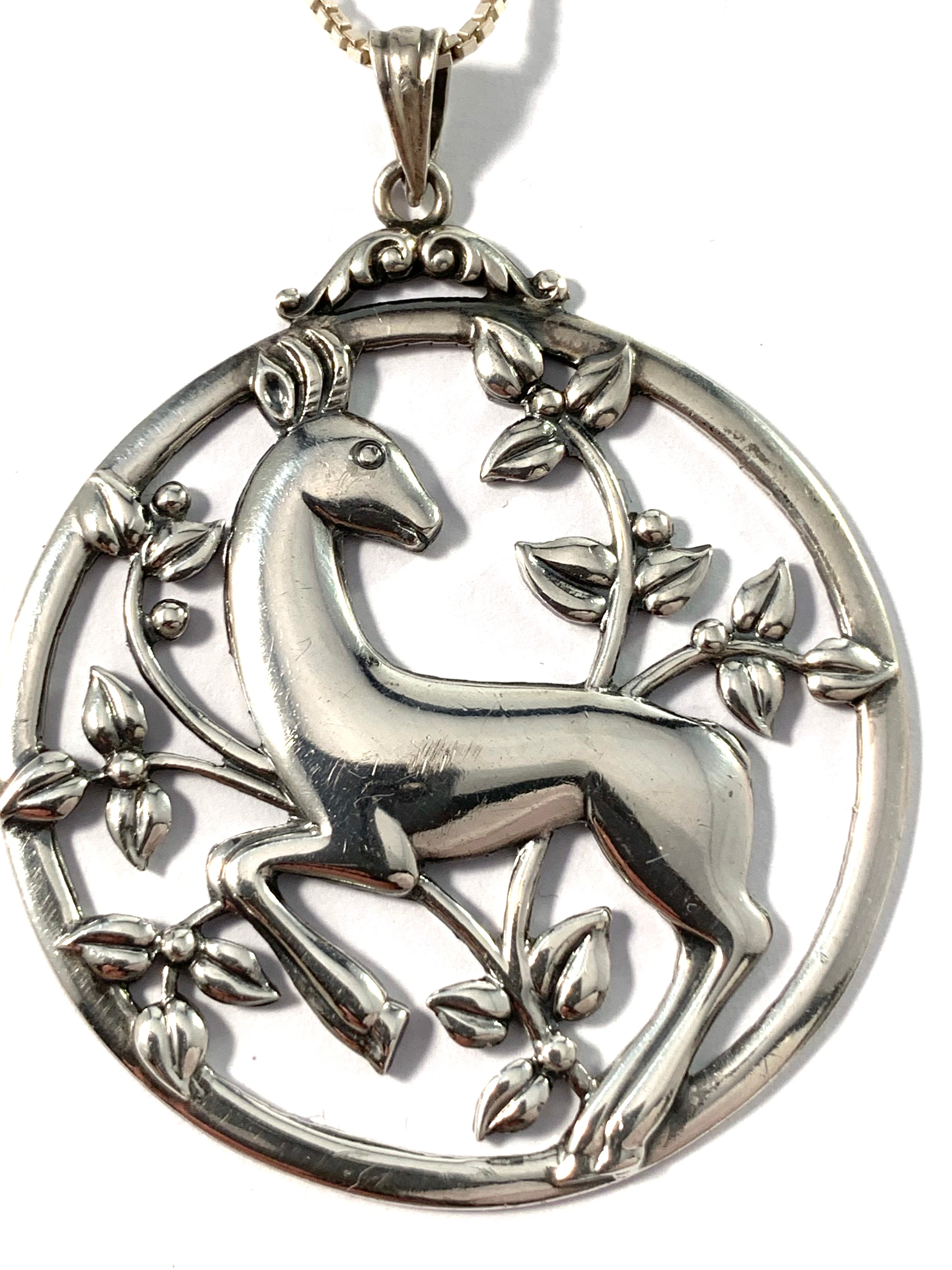 G Dahlgren, Sweden 1948. Sterling Silver Pendant Necklace.