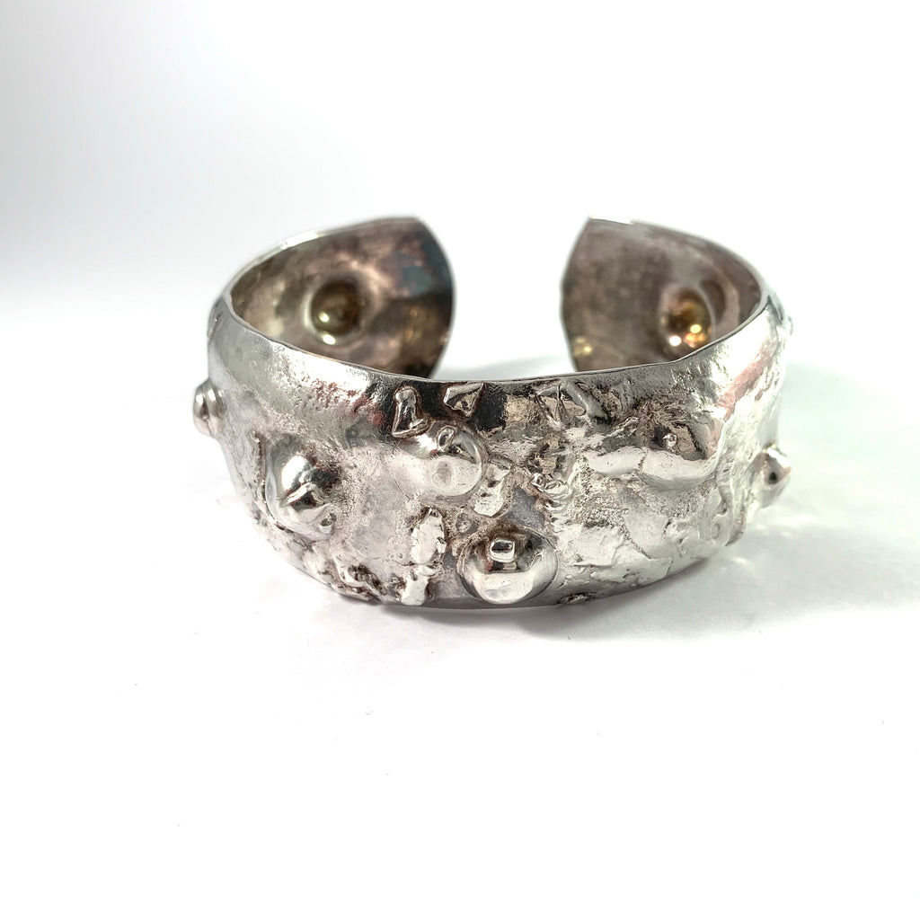 Carl-Axel Colldin, Sweden. Vintage Brutalist Chunky Sterling Silver Cuff Bracelet.
