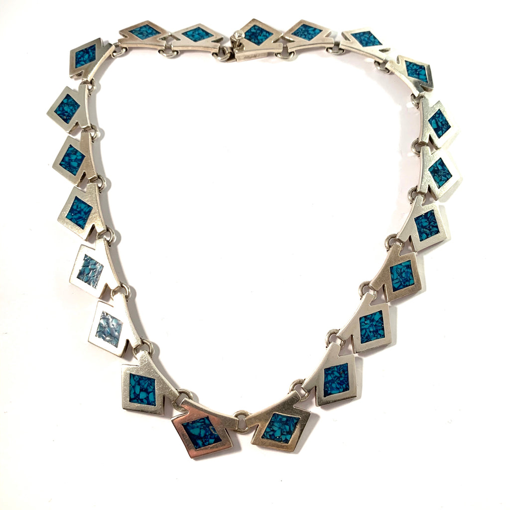 Mexico, Vintage Massive 3.75oz Sterling Silver Turquoise Enamel Necklace.