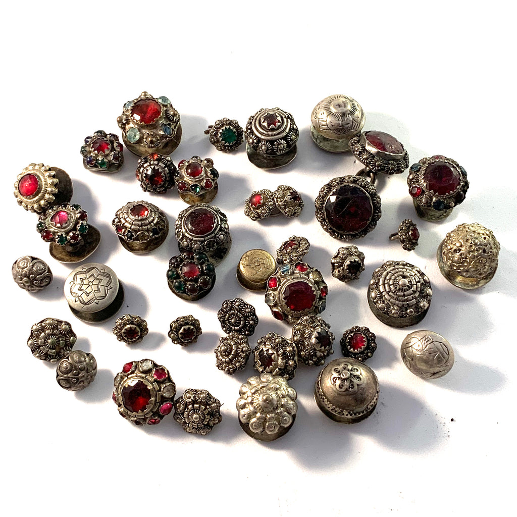 Lot, Georgian and Victorian Silver Paste Buttons and Studs. Mostly Hallmarked for Sweden.