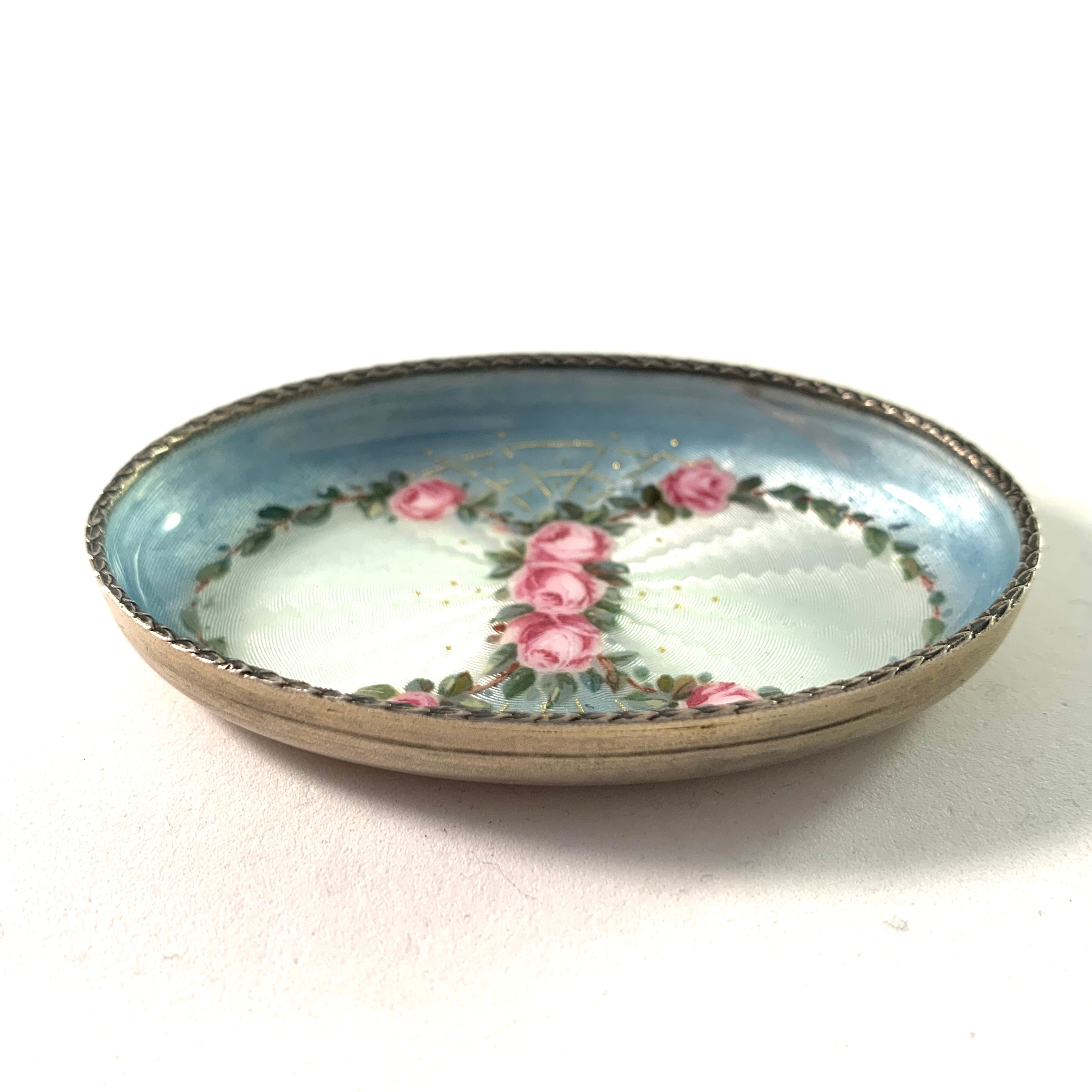 Norway early 1900s Sterling  Enamel Dressing Table Trinket Tray.
