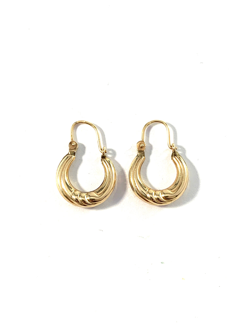Vintage Mid Century 14k Gold Hollow Earrings. Possibly Austria.