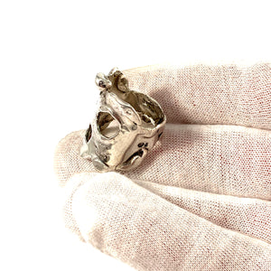 Swedish Import c 1970s Bold Brutalist Sterling Silver Ring.