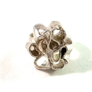 Stockholm year 1970 Modernist Abstract Sterling Silver Ring. Signed