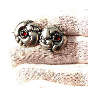 Denmark 1910s Arts and Crafts Skonvirke 830 Silver Paste Stone Brooch.