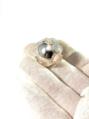 Alton, Sweden 1973. Large and Bold Sterling Silver Modernist Ring.