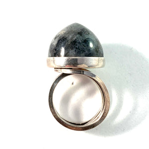 Stenlya, Sweden 1973 Bold Sterling Silver Syenite Ring