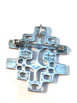Unn Tangerud, for David Andersen Norway 1960s Sterling Silver Brooch Pendant.