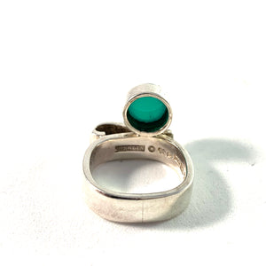 Claes E Giertta, Sweden Vintage Sterling Chrysoprase Ring. Signed